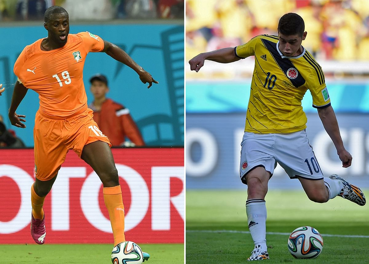 Combination photo shows Ivory Coast's midfielder Yaya Toure (L) and Colombia's midfielder James Rodriguez.