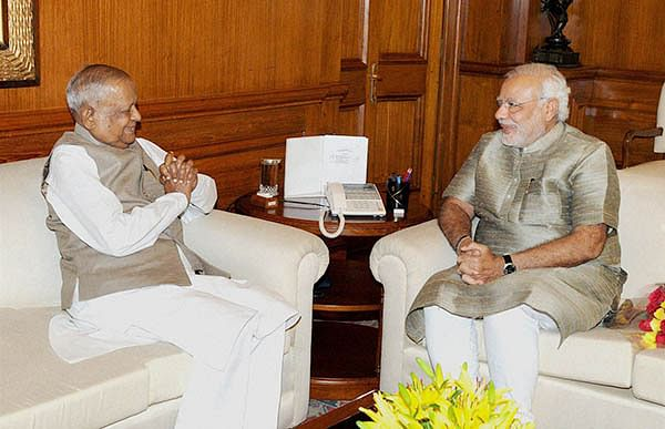 PM Narendra Modi in a meeting with Assam Governor Janaki Ballabh Patnaik in New Delhi on Wednesday.