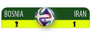 Bosnia defeat sends Iran crashing out of World Cup