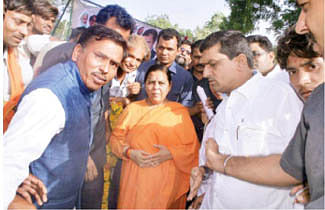 Grand welcome accorded to Uma Bharti