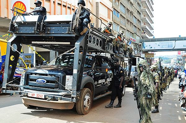 UPDF soldiers patrol streets after the US warned of a specific threat by an unknown group to attack Entebbe international airport, in Kampala, Uganda.