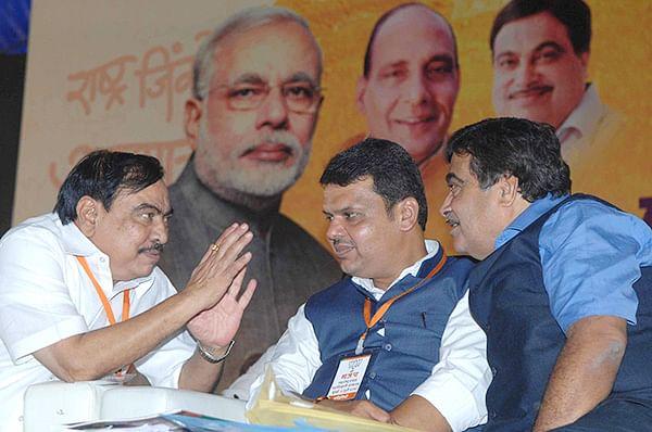 Eknath Khadse, Devendra Fadnavis, Nitin Gadkari  at the BJP Executive meet at  Andheri Sports Complex on Thursday