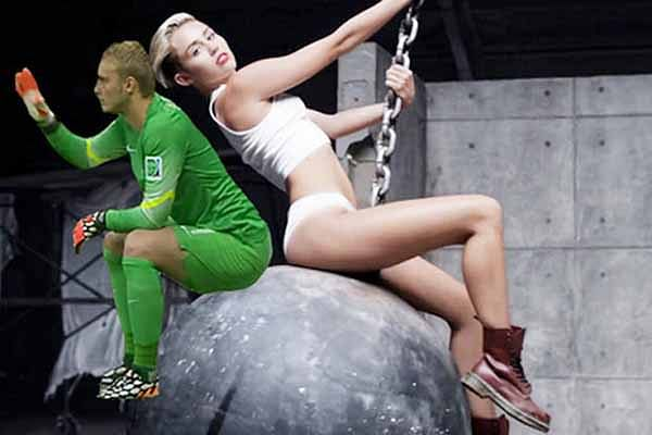 Fans tweet snap of Dutch goalie sitting on 'Wrecking Ball'