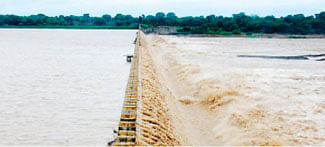 Chambal River flowing ferociously
