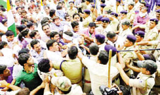 YC demo turns violent, 50 booked