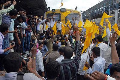Dhangar Samaj Arakshan Kriti Samiti members staging rail roko at Kurla railway station on Thursday