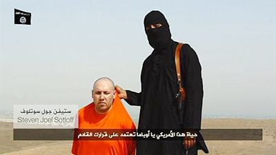 Top: A masked speaks next to a U.S. journalist Steven  Sotloff at an unknown  location posted on a social media website.  Bottom right: Mother of captured journalist begs for son's life.