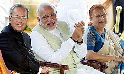 President Pranab Mukherjee, PM Narendra Modi and Lok Sabha Sumitra Mahajan  during At Home party at Rashtrapati Bhawan on Friday.