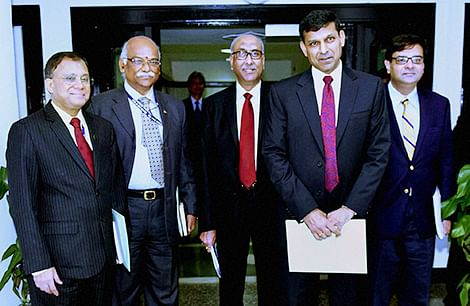 Governor of RBI Raghuraman Rajan ( 2nd R) along with deputy governors HR Khan, R Gandhi, SS Mundra and Urijit Patel after a press conference announcing the monetary policy at RBI headquarters in Mumbai