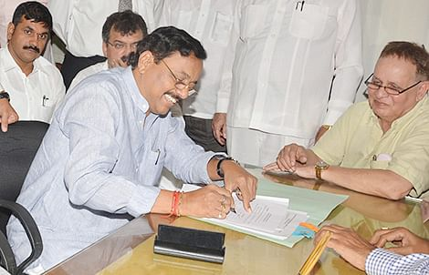 NCP leader Sunil Tatkare filed his nomination papers for the council bypoll at Vidhan Sabha on Monday