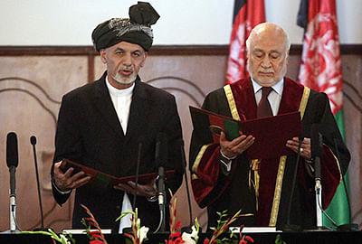 Ashraf Ghani taking oath in Kabul on Monday.