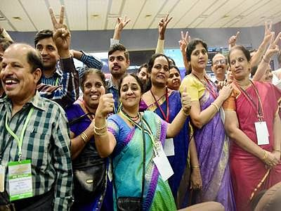 Celebratory mood at command centre after historic Mars feat
