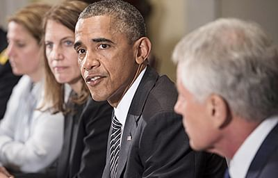 US President Barack Obama makes a statement for the press after a meeting in the Cabinet Room of the White House.