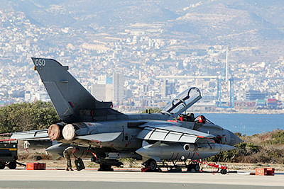 A British Royal Air Force (RAF) Tornado fighter jet is seen at the Akrotiri airbase, near the Cypriot city of Limassol. British fighter jets fired on IS militants west of Baghdad, the Ministry of Defence said.