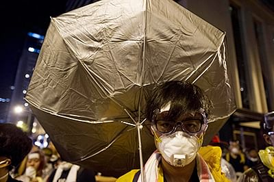 A man takes part in a pro-democracy protest in HK.