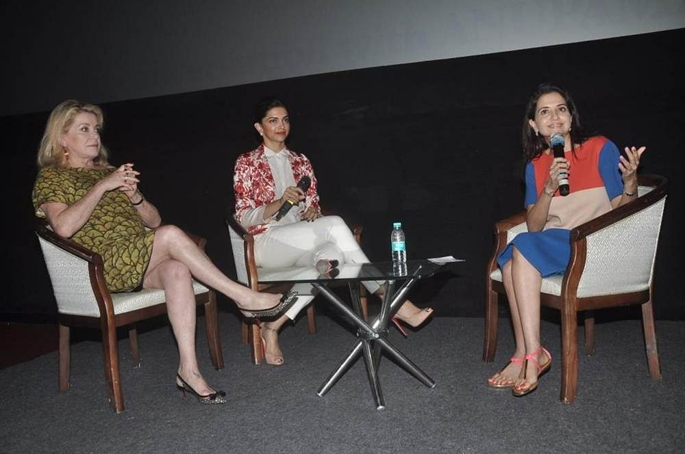 Lifetime Achievement Award winner French actress Catherine Deneuve and noted Indian actress Deepika Padukone in Conversation with Anupama Chopra at 16th Mumbai Film Festival in Mumbai.