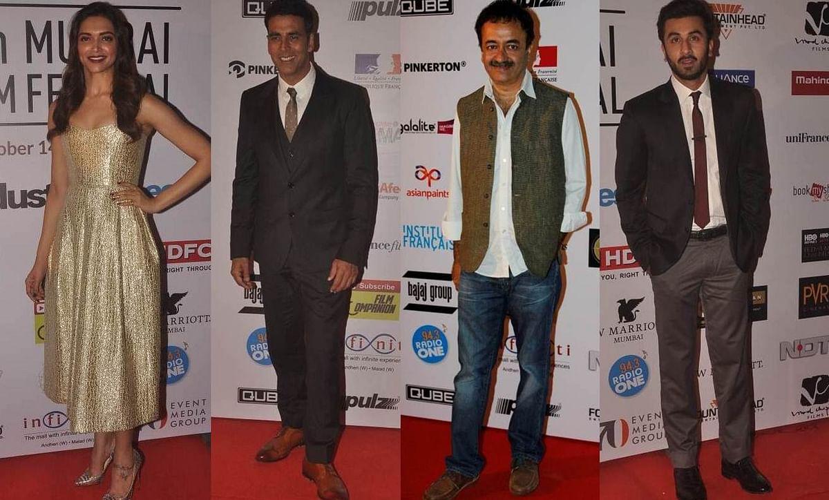 Deepika Padukone, Akshay Kumar, Rajkumar Hirani and Ranbir Kapoor during the 16th Mumbai Film Festival