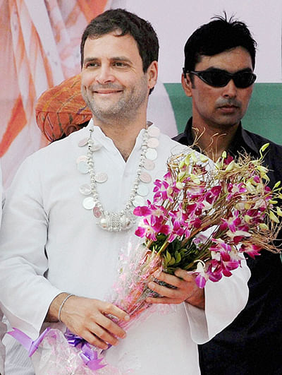 Rahul Gandhi during an election rally at Vani in Nasik district on Friday.