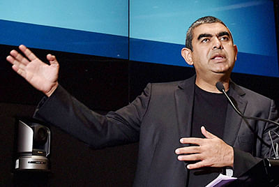 Infosys CEO Vishal Sikka announcing the second-quarter financial results at its headquarters in Bengaluru on Friday