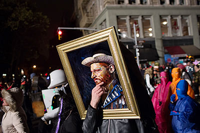 A reveller dressed as Van Gogh at the 41st Annual  Village Halloween Parade in New York City.