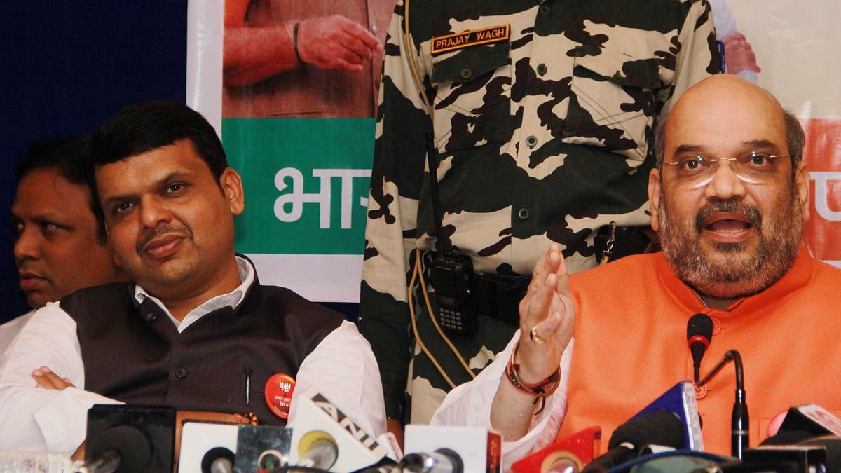 BJP president Amit Shah and Maharashtra CM Devendra Fadnavis during the party meeting in Mumbai.