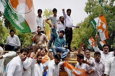 Maharashtra Congress workers protest against Modi govt's 1-year rule