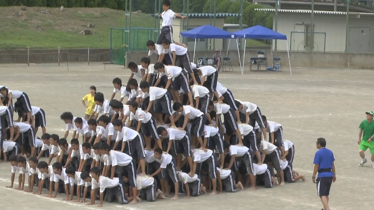 How to assemble perfect human pyramid found