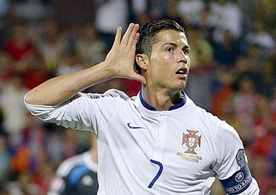 TOPSHOTS Portugal's forward Cristiano Ronaldo celebrates a goal during the UEFA Euro 2016 qualifying round Group I football match between Armenia and Portugal in Yerevan on June 13, 2015. AFP PHOTO / KAREN MINASYAN