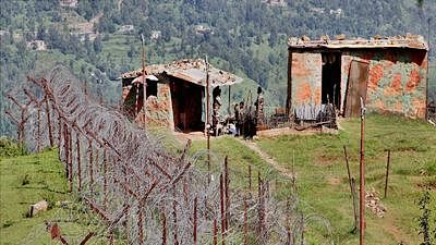 A view of an Indian border post near fencing on the line of control (LoC) near Balakot sector in Poonch