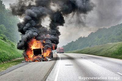 Six firemen injured battling blaze on truck