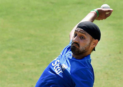 Indore: Harbhajan Singh during a practice session ahead of second ODI against South Africa in Indore on Tuesday.PTI Photo by Atul Yadav(PTI10_13_2015_000043B)
