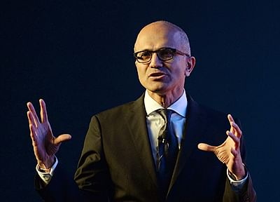 Microsoft CEO Satya Nadella speaks during a two-day technology summit in Mumbai on November 5, 2015. Nadella addressed Indian business leaders and entrepreneurs at the summit. AFP PHOTO/ PUNIT PARANJPE