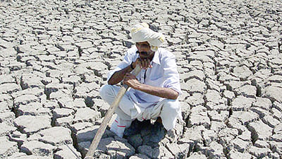 In this picture taken 07 June 2004, Indian farmer Sangrambhai Bharwad poses for a photograph in a parched field on his farm in the village of Mithapur,some 70kms east of Ahmedabad.