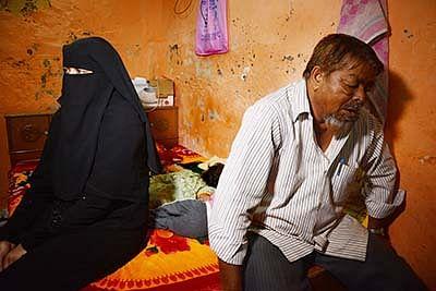 Mumbai; Wajid Shaikh 25 Left to join ISIS  Father Bashir Shaikh 60 and Sister Ayesha 28  Shocked this News at Residence Malwani Malad . Photo by BL SONI