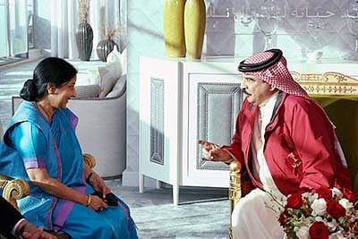 Former External Affairs Minister late Sushma Swaraj with King of Bahrain, Hamad Bin Isa Al Khalifa during a meeting in Bahrain