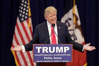 PELLA, IA - JANUARY 23: Republican presidential candidate Donald Trump speaks during a campaign stop January 23, 2016 in Pella, Iowa. Trump, who is seeking the nomination from the Republican Party is on the presidential campaign trail across Iowa ahead of the Iowa Caucus taking place February 1.   Joshua Lott/Getty Images/AFP == FOR NEWSPAPERS, INTERNET, TELCOS & TELEVISION USE ONLY ==