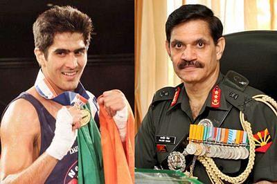 Vijender Singh meets Army Chief General Dalbir Singh Suhag