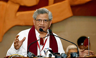 Kolkata: CPI(M) General Secretary Sitaram Yechury addressing the valedictory session of 'Kolkata Plenum' in Kolkata on Thursday. PTI Photo by Swapan Mahapatra (PTI12_31_2015_000143B)