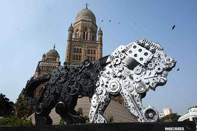 Make In India Preparation Start in Mumbai Make In India Logo Keep in City at CST .