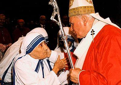 Vatican City, June 29, 1997: Pope John Paul II  greets Mother Teresa of Calcutta as they meet in St Peter's Basilica