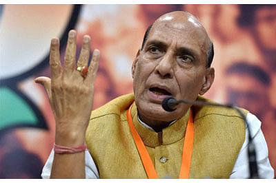 New Delhi: Home Minister Rajnath Singh addressing a press conference after BJP's national executive meeting in New Delhi on Sunday. PTI Photo by Vijay Verma (PTI3_20_2016_000192B)