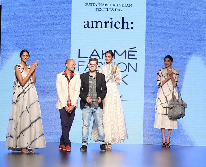 Amrich with models at LFW SR 2016
