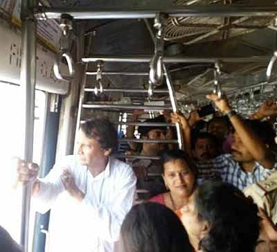 Suresh Prabhu takes a local for 2nd day in a row