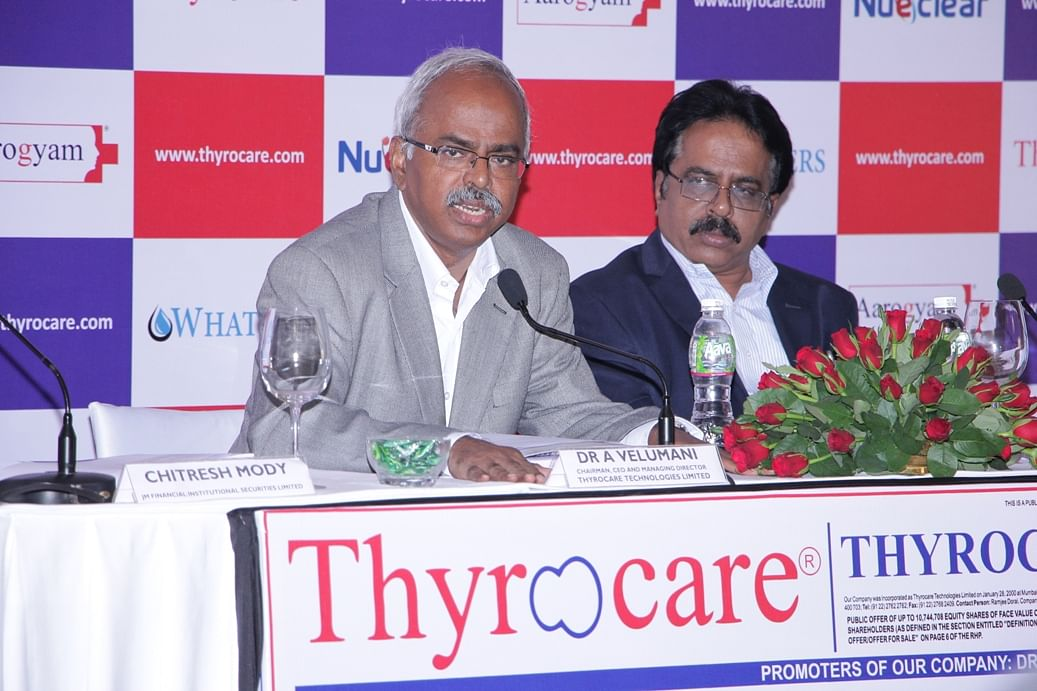 Dr A Velumani (Chairman, CEO and Managing Director, Thyrocare Technologies Limited) and A. Sundararaju (Executive Director) and Chief Financial Officer, Thyrocare Technologies Limited at the IPO Press Conference of the Company.