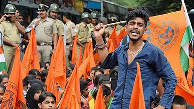 Akhila Bharatiya Vidyarthi Parishad (ABVP) hold saffron flags