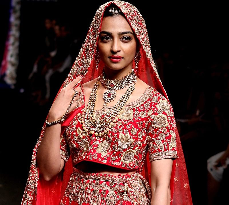 Radhika Apte shines in 'near weightless' wedding lehenga by Saroj Jalan