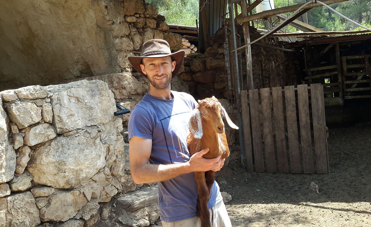 <strong>Omer Seltzer with one of his goats</strong>