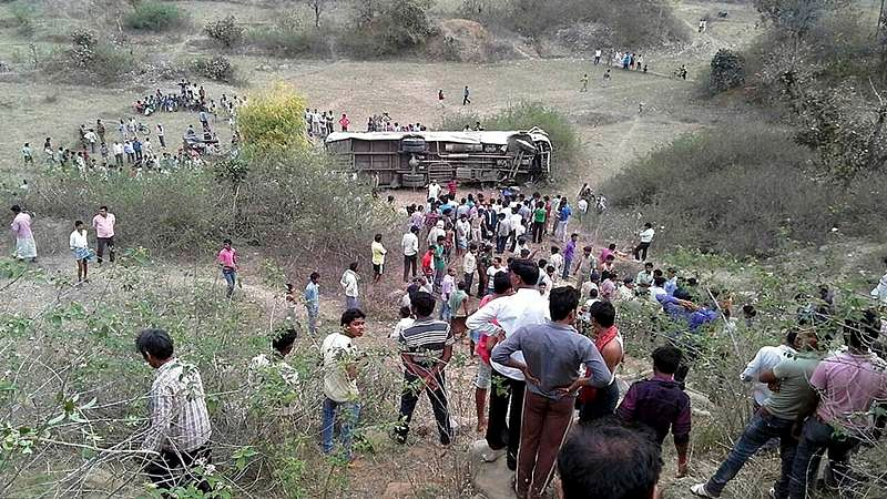 Bhopal: Bus returning from rally overturns, four injured