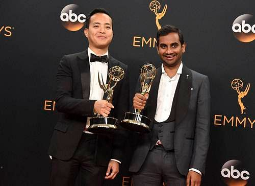 """Aziz Ansari (R) and Kelvin Yu winners of the award for outstanding writing for a comedy series for """"Master of None""""."""