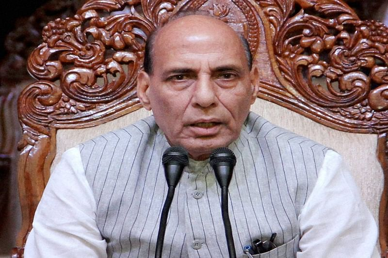 Home Minister RajnathSingh celebrates Dussehra with BSF jawans; performs 'shastra puja'